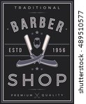 barber shop poster. straight... | Shutterstock .eps vector #489510577