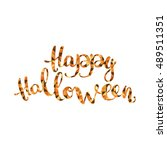 happy halloween. orange... | Shutterstock .eps vector #489511351