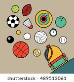 sport bag  illustration and... | Shutterstock .eps vector #489513061