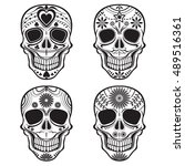 skull with floral ornament  ... | Shutterstock .eps vector #489516361