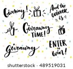 giveaway text and design... | Shutterstock .eps vector #489519031