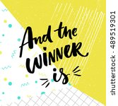 and the winner is. giveaway... | Shutterstock .eps vector #489519301