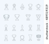 trophy awards vector thin... | Shutterstock .eps vector #489519319