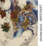 floral hand made design | Shutterstock . vector #489519697