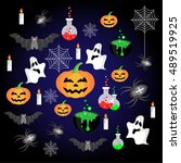 halloween icons set | Shutterstock .eps vector #489519925