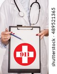 detail of a doctor with... | Shutterstock . vector #489521365