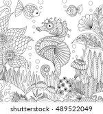 zendoodle design of seahorse... | Shutterstock .eps vector #489522049