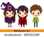 set of happy monster in... | Shutterstock .eps vector #489522289
