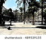 spain  barcelona  royal square  | Shutterstock . vector #489539155