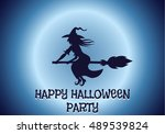 happy halloween house scary on... | Shutterstock . vector #489539824