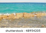 coast of Red Sea with stones - stock photo