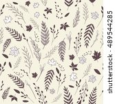 vector floral pattern  | Shutterstock .eps vector #489544285