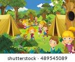 cartoon scene with kids having...   Shutterstock . vector #489545089