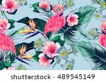 tropical flowers  palm leaves ... | Shutterstock .eps vector #489545149