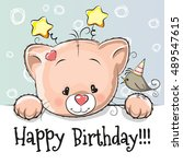 birthday card with cute kitten... | Shutterstock .eps vector #489547615