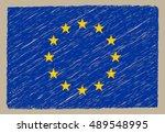 scribble flag of eu.european... | Shutterstock .eps vector #489548995