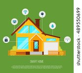 smart home automation system.... | Shutterstock .eps vector #489550699