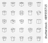 box icons set. vector cardboard ...   Shutterstock .eps vector #489555715