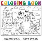 coloring book dragon near... | Shutterstock .eps vector #489559555