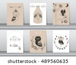 set of cute animals poster... | Shutterstock .eps vector #489560635