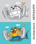 bulldog bodybuilding | Shutterstock .eps vector #489564499