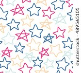 cute doodle simple pattern with ... | Shutterstock .eps vector #489565105