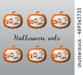 halloween sale tags set.... | Shutterstock .eps vector #489565735
