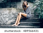 amazing young stylish woman... | Shutterstock . vector #489566431