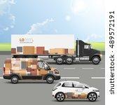 brown transport advertising... | Shutterstock .eps vector #489572191