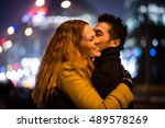young couple kissing and... | Shutterstock . vector #489578269