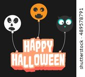 the happy halloween text with... | Shutterstock .eps vector #489578791