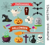 set of halloween ribbons and... | Shutterstock .eps vector #489579421