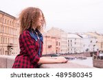 young cute curly dreamy... | Shutterstock . vector #489580345