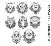 hand drawn dog faces. set of... | Shutterstock .eps vector #489592201