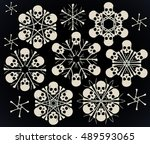 set of vector snowflakes made... | Shutterstock .eps vector #489593065