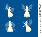 soaring angels with ornamental... | Shutterstock .eps vector #489597265