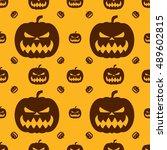 pumpkin for halloween. seamless ... | Shutterstock .eps vector #489602815