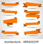 set of ribbon vector  orange... | Shutterstock .eps vector #489603199