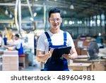 worker in asian production... | Shutterstock . vector #489604981