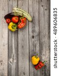 vegetables on gray old planks... | Shutterstock . vector #489606835