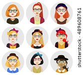 set of 9 avatar illustrations... | Shutterstock .eps vector #489608761