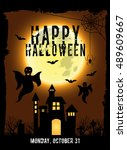 happy halloween with scary... | Shutterstock .eps vector #489609667