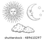 sun and moon with face and... | Shutterstock .eps vector #489610297