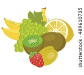 fruit combination  kiwi  lemon  ... | Shutterstock .eps vector #489610735