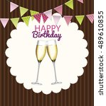 party background with flags and ... | Shutterstock .eps vector #489610855