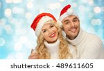 people  christmas  holidays and ... | Shutterstock . vector #489611605