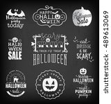 halloween party design elements ... | Shutterstock .eps vector #489613069