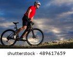 man in helmet and glasses stay... | Shutterstock . vector #489617659