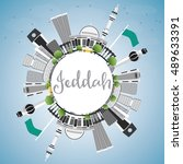 jeddah skyline with gray... | Shutterstock .eps vector #489633391
