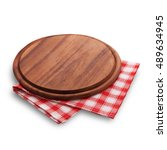 pizza board with napkin with... | Shutterstock . vector #489634945